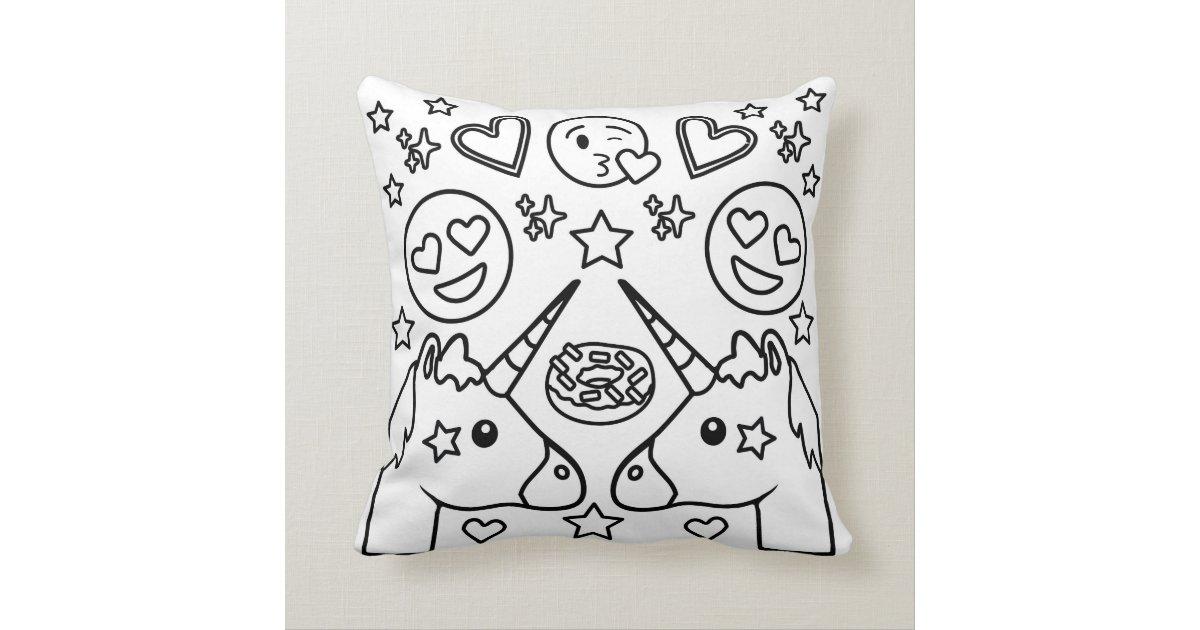 Coloring Book Unicorn Emoji Pillow   Zazzle.com