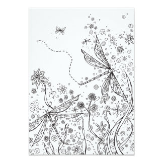 Coloring Card Whimsical Fantasy Dragonfly Art