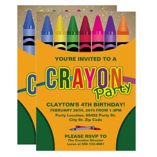 Coloring, Crayon Birthday Party Invitations