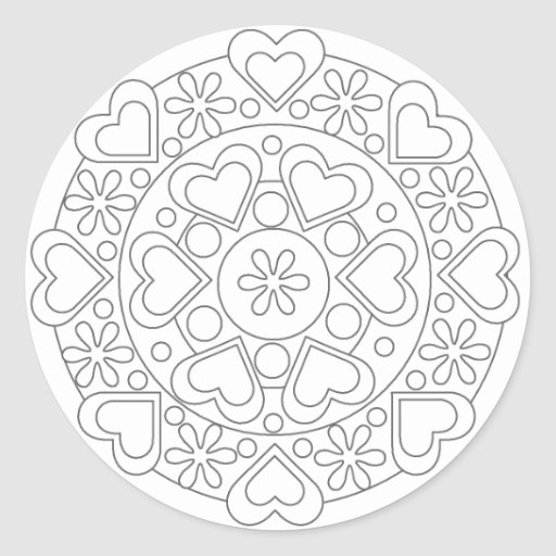 coloring in hearts and flowers mandala sticker