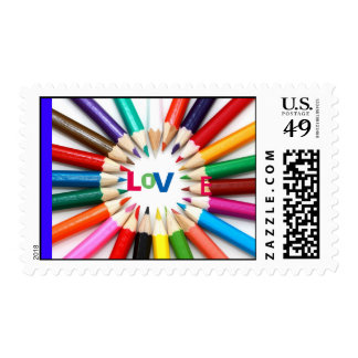 Coloring Pencils Love Circle Postage Stamp