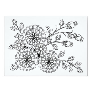Coloring Postcard Fancy Floral Design
