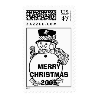 Coloring-Snowman, MERRY CHRISTMAS 2005 Postage