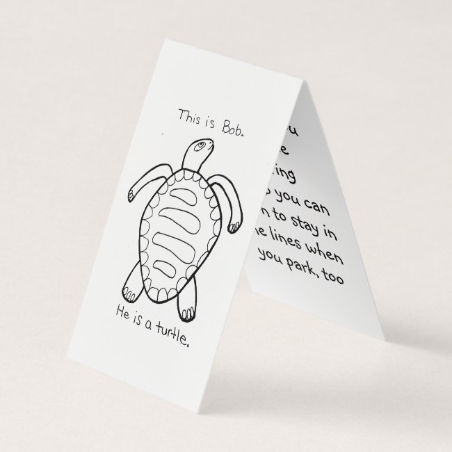 Coloring Turtle Parking Prank Card