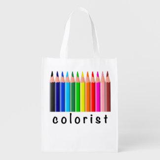 Colorist Spectrum of Colored Pencils Illustration Reusable Grocery Bag