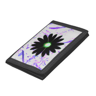 Colorized Black Daisy on Purple Pink and White Trifold Wallet