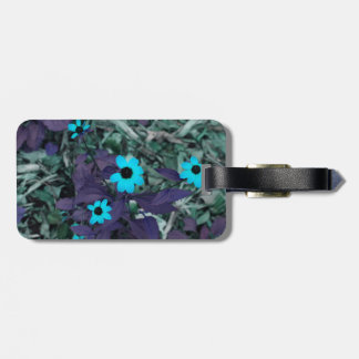 colorized blue flowers neat plant luggage tags