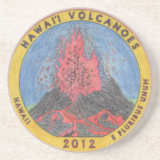 Colorized Hawai'i Volcanoes Quarter Coaster