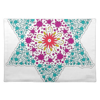 Colorized Star of David Seal design in Jerusalem Cloth Placemat