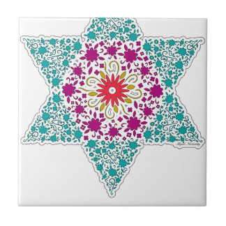Colorized Star of David Seal design in Jerusalem Tile