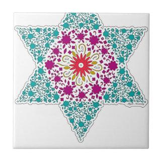 Colorized Star of David Seal design in Jerusalem Tile