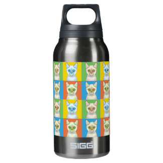 Colorpoint Shorthair Cat Cartoon Pop-Art Insulated Water Bottle