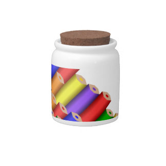 colors and pencils candy jar