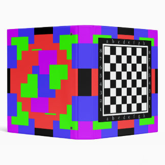 colors and shapes, classic chess table.. 3 ring binder