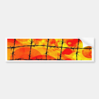 colors behind barbed wire car bumper sticker