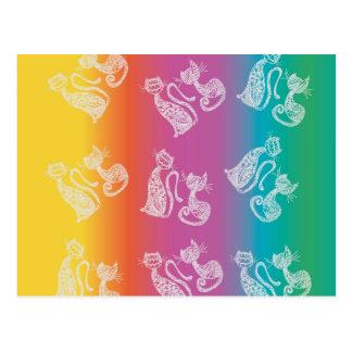 colors cats postcard