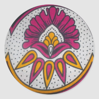 colors cool retro vintage African traditional styl Classic Round Sticker