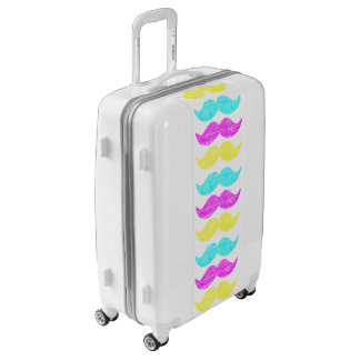 Colors Cyan Magenta Yellow Mustaches Luggage