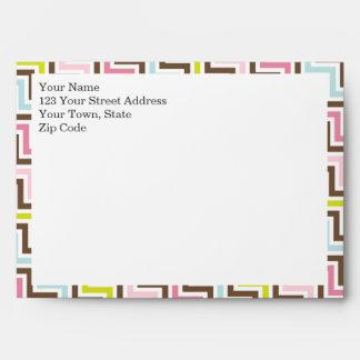 Colors Diagonal Zigzag Chevron Pattern Envelope