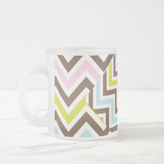 Colors Diagonal Zigzag Chevron Pattern Frosted Glass Coffee Mug