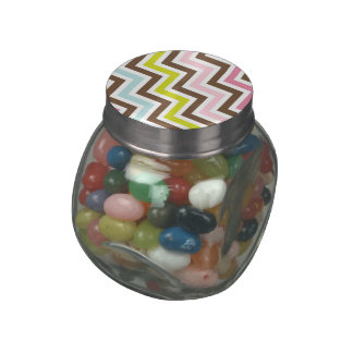 Colors Diagonal Zigzag Chevron Pattern Glass Jar