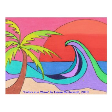 Beach Themed Colors in a Wave Postcard