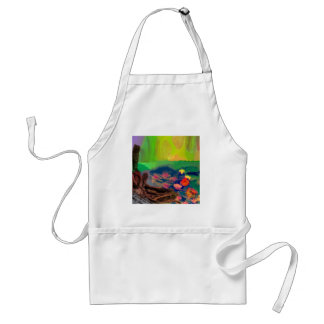 Colors invade the sky, the lilies cover the pond. adult apron