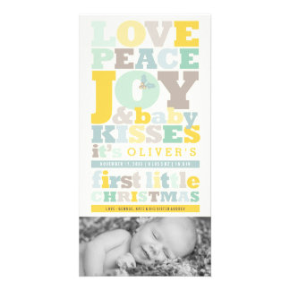 Colors Letter Blocks Baby 1st Christmas Photo Card