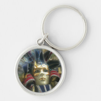 Colors Masquerade Silver-Colored Round Keychain