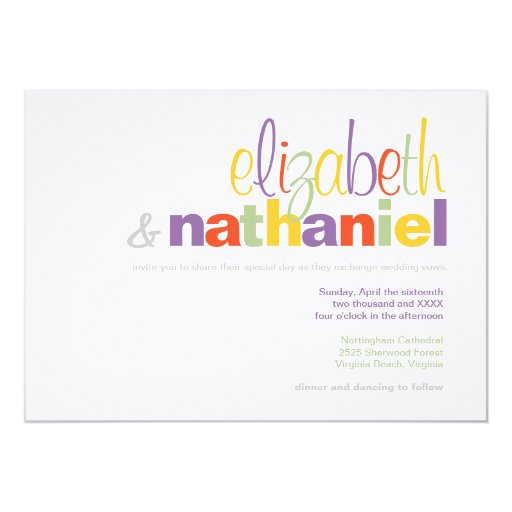 Colors: Modern Typographical Wedding Invitation