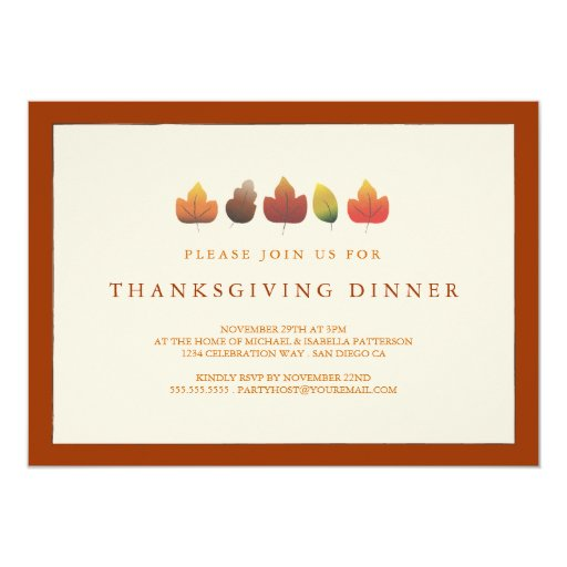 Colors of Autumn Falling Leaves Thanksgiving Announcements