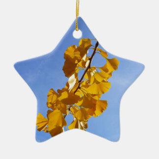 Colors of Autumn Gingko leaves Ceramic Ornament