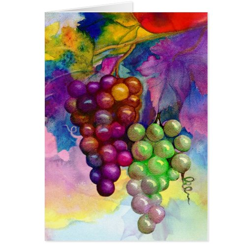 Colors of autumn grapevine greeting card