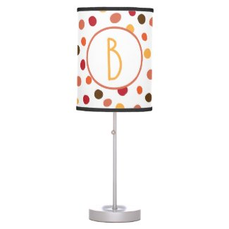 Colors of Autumn Polka Dots Monogram Table Lamp