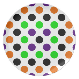 Colors of Halloween Polka Dots Dinner Plate