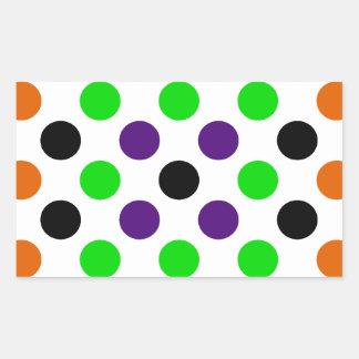 Colors of Halloween Polka Dots Rectangular Sticker