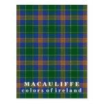 Colors of Ireland Clan MacAuliffe Tartan Postcard