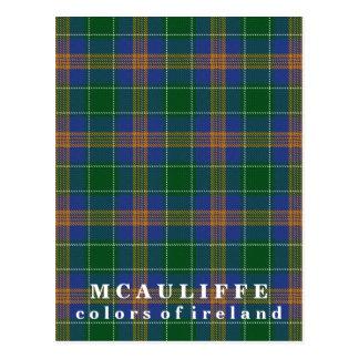 Colors of Ireland Clan McAuliffe Tartan Postcard