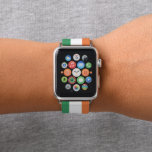 """Colors of Ireland Flag. Apple Watch Band<br><div class=""""desc"""">Wikipedia: The national flag of Ireland – frequently referred to as the Irish tricolour – is a vertical tricolour of green,  white and orange. The proportions of the flag are 1:2.  Available here: http://www.zazzle.com/produkto</div>"""