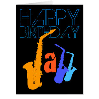 Colors of Jazz Sax 4 faces Birthday 18x24 Greeting Card