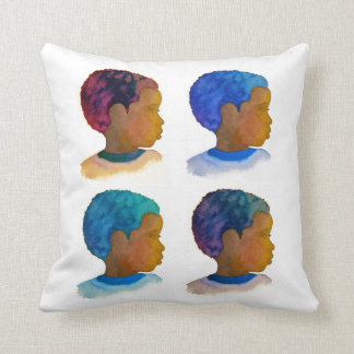 Colors of Life Silhouette Bot with Afros Pillow