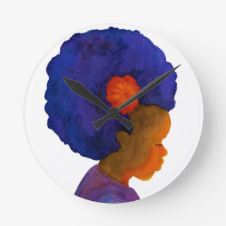 Colors of Life Silhouette Girl with Afro Clock