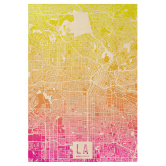 Colors of Los Angeles Map Wood Poster