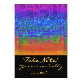 Colors of Music Musical Symbols Invitation