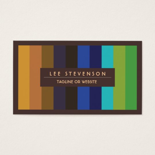 Colors of Peacock Feathers Striped  Business Card