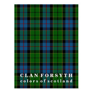 Colors of Scotland Clan Forsyth Tartan Postcard