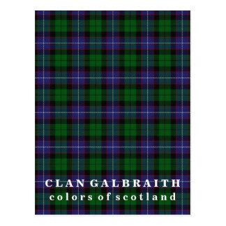 Colors of Scotland Clan Galbraith Tartan Postcard