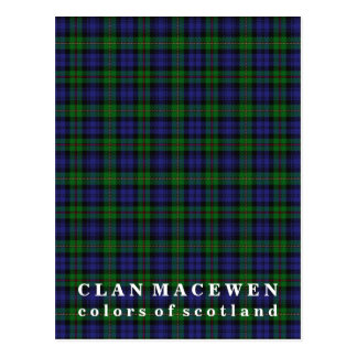 Colors of Scotland Clan MacEwen Tartan Postcard