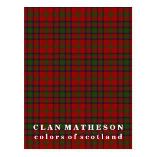 Colors of Scotland Clan Matheson Tartan Postcard