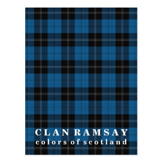 Colors of Scotland Clan Ramsay Blue Hunting Tartan Postcard